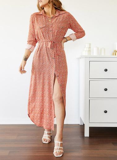 XHAN Desenli Gömlek Elbise 0Yxk6-43509-04 Renkli